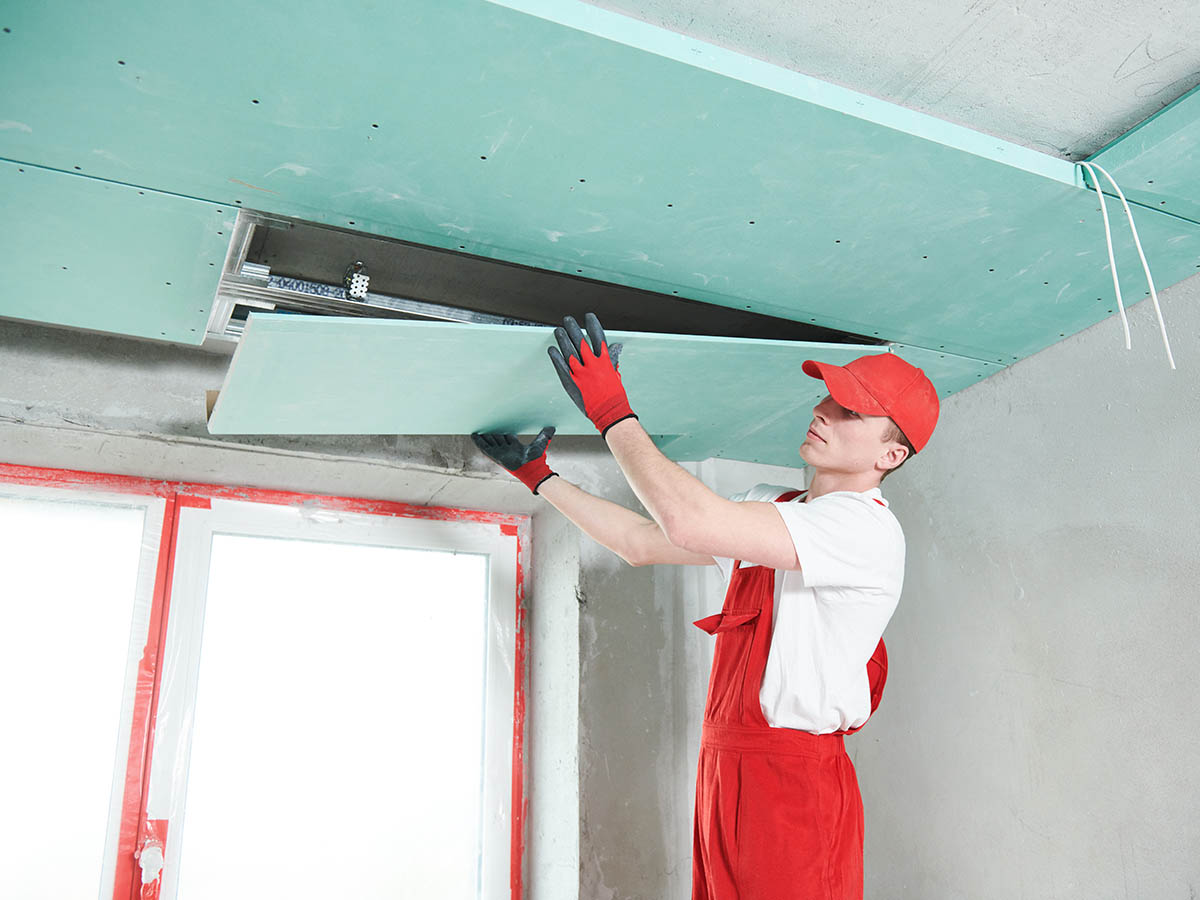 Gypsum plasterboard Ceiling Work Services. suspended ceiling from drywall construction installation